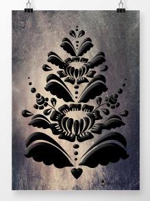 Kurbits i svart på stenvägg - 21 x 30 cm