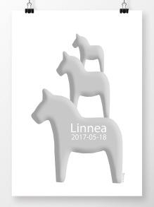 Tre hästar på höjden namntavla i grått - A4 210 x 297 mm