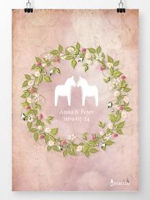Bröllopstavla sommarkrans på rosa bakgrund - A4 210 x 297 mm