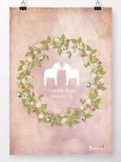 Bröllopstavla sommarkrans på rosa bakgrund