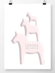 Tre hästar på höjden namntavla i rosa
