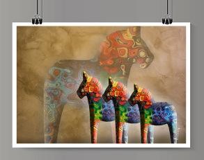 Färgglada dalahästar - A4 210 x 297 mm
