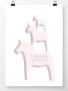 Tre hästar på höjden namntavla i rosa - 50 x 70 cm