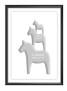 Tre hästar på höjden namntavla i grått