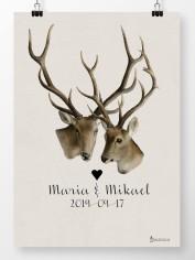 Bröllopstavla två hjortar