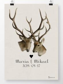 Bröllopstavla två hjortar - A4 210 x 297 mm