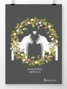 Bröllopstavla med blomsterkrans - 210 x 297 mm