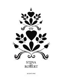 Bröllopstavla svart kurbits - A4 210 x 297 mm