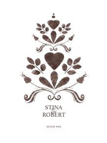 Bröllopstavla målad brun kurbits - A4 210 x 298 mm