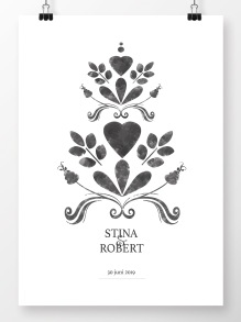 Bröllopstavla målad grå kurbits - A4 210 x 297 mm