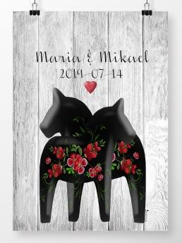 Bröllopstavla med påsömsblommor i svart - A4 210 x 297 mm