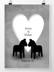 Personlig Bröllopstavla med vitt hjärta