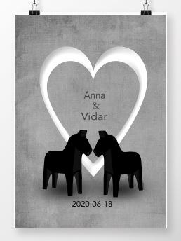 Personlig Bröllopstavla med öppet hjärta - A4 21 x 29,7 cm