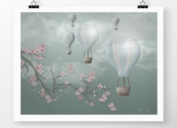 Barntavla med luftballonger - A4 21 x 29,7 cm
