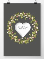 Bröllopstavla sommarkrans och stort hjärta