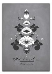 Bröllopstavla med svartvit kurbits