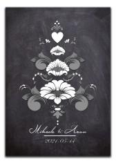 Bröllopstavla svartvit kurbits på mörk bakgrund