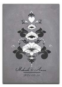 Bröllopstavla med svartvit kurbits - A4 21 x 29,7 cm