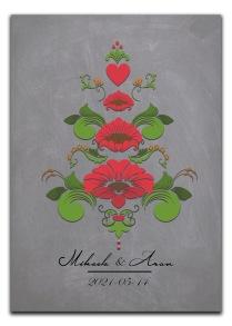 Bröllopstavla med kurbits i röda och gröna nyanser - A4 21 x 29,7 cm