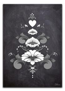 Kurbits i svart-grå-vita nyanser - A4 21 x 29,7 cm