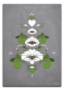 Kurbits i gröna och vita nyanser - A4 21 x 29,7 cm