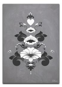 Kurbits i gråvita nyanser - A4 21 x 29,7 cm