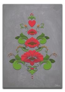 Kurbits i gröna och röda nyanser - A4 21 x 29,7 cm