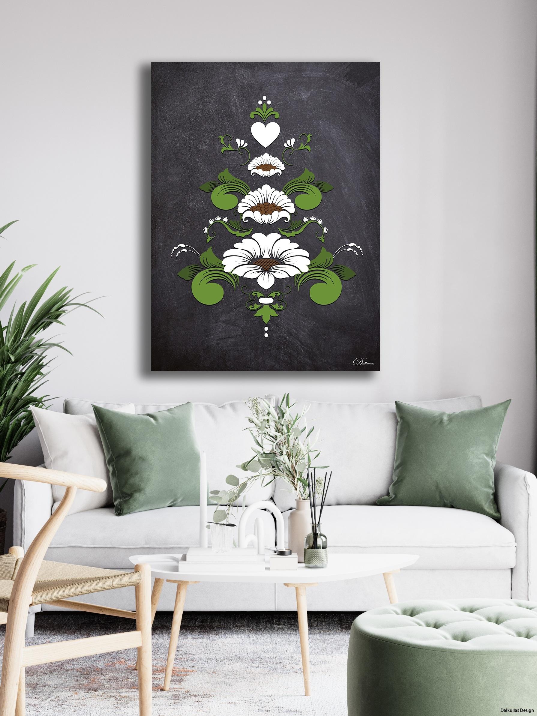inspirationsbild kurbits i grönt och vitt på mörk bakgrund