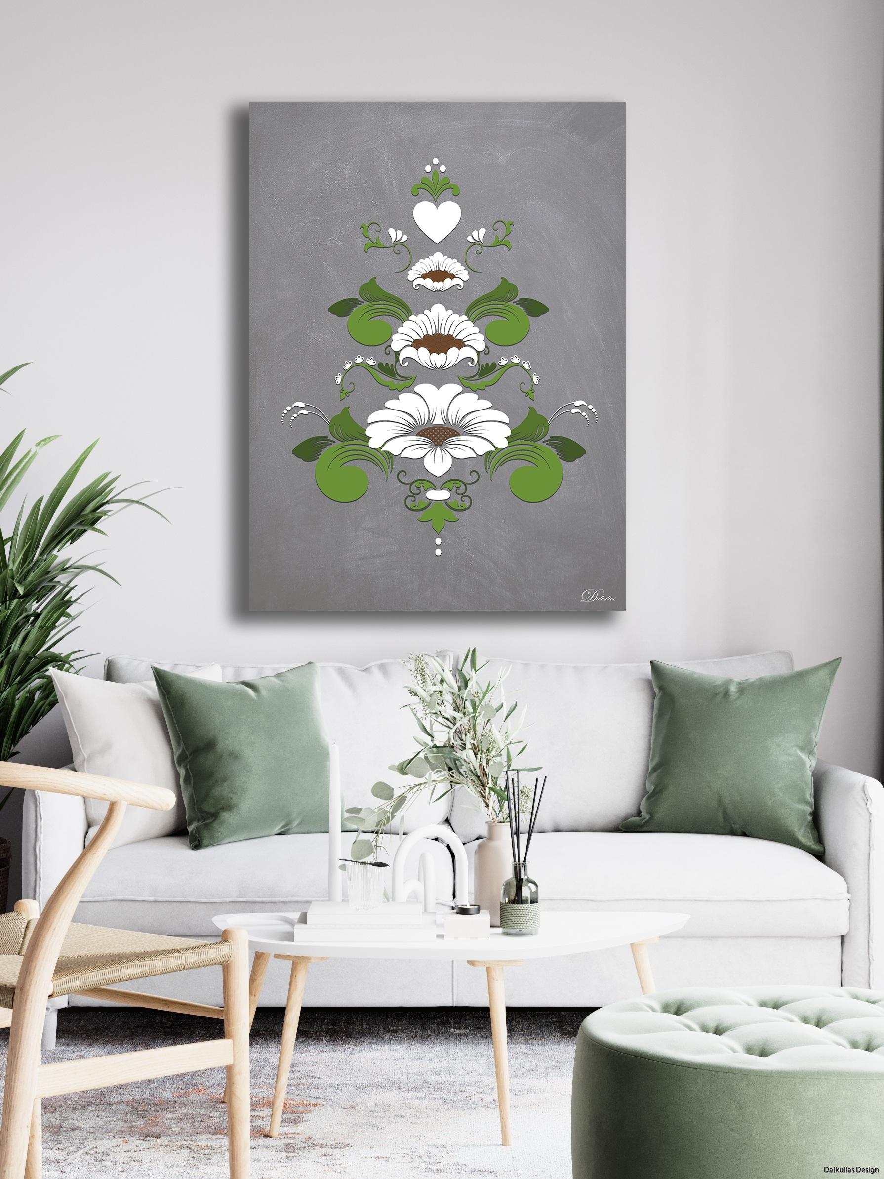 inspirationsbild kurbits i vitt och grönt på ljus bakgrund