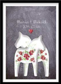 Personlig bröllopstavla på grå bakgrund - A4 21 x 29,7 cm