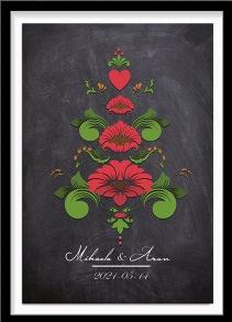 Bröllopstavla kurbits i gröna och röda nyanser på mörk bakgrund - A4 21 x 29,7 cm