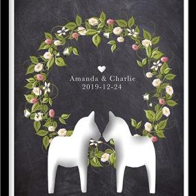 Bröllopstavla med blomsterkrans