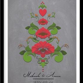Bröllopstavla med kurbits i röda och gröna nyanser