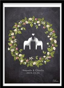 Bröllopstavla med sommarkrans och två små dalahästar - A4 210 x 297 mm