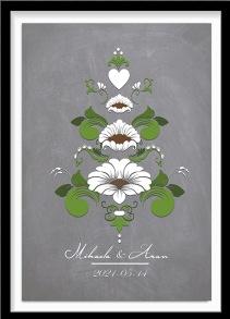 Bröllopstavla med kurbits i gröna och vita nyanser - A4 21 x 29,7 cm