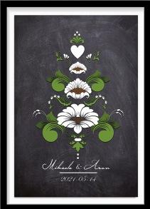 Bröllopstavla kurbits i gröna och vita nyanser på mörk bakgrund - A4 21 x 29,7 cm
