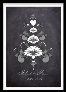 Bröllopstavla svartvit kurbits på mörk bakgrund - A4 21 x 29,7 cm