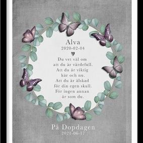 Doptavla med krans och fjärilar i rosa