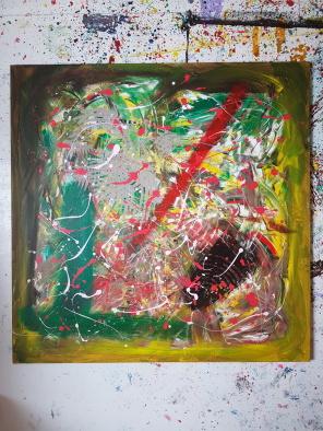 Acrylic on canvas. 100 cm x 100 cm x 1 cm.