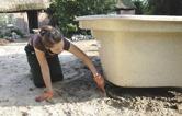 montera trädgårdsdamm i plast