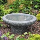 fågelbad granit trädgårdskonst