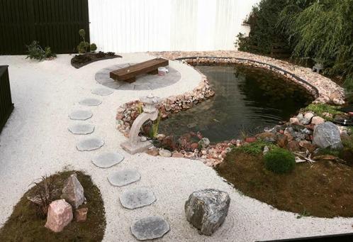 japansk trädgård trampstenar granithus zen trädgårdskonst