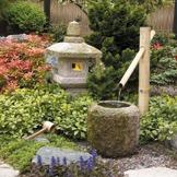 japansk trädgård bambu granit