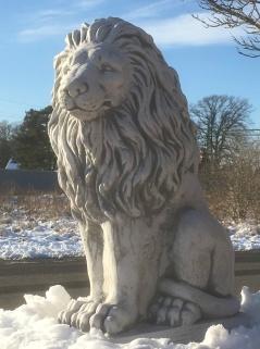 Trädgårdskonstlejon , trädgårdslejon, marmor lejon , konstmarmor lejon