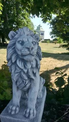 trädgårdskonst trädgårdsstaty, vit marmorkonst lejon
