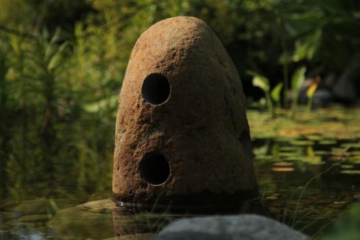 granit lampa trägårdsbelysning natursten trädgårdskonst