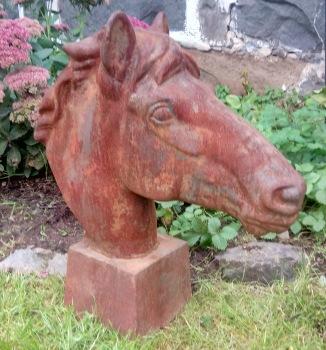 Trädgårdskonst hästhuvud järn