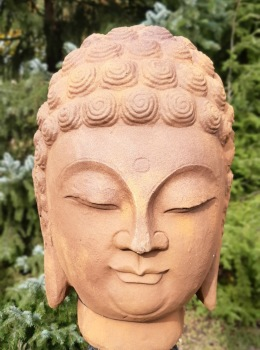 Budda ansikte rostfärgat