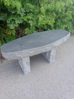 Massiv Granitbänk, Robust bänk till trädgården, Svart Granit Bänk