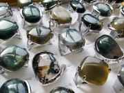 Green Agate Amber Stone Silverplated Ring